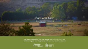 La page d'accueil du site de Mullon Creek natural Farms.