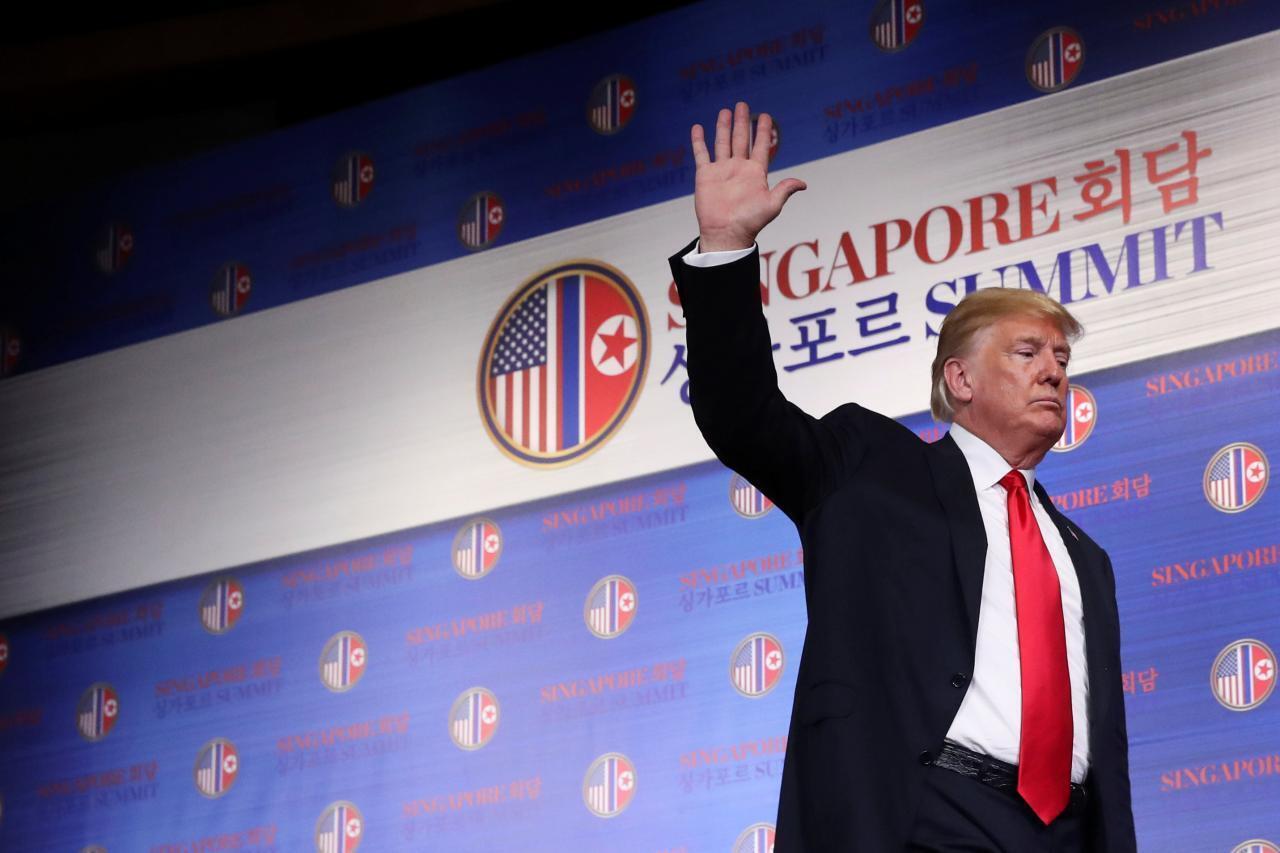 特朗普12日在美朝峰會後記者會上宣布將停止美韓聯合軍演