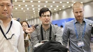 An Australian student Alek Sigley, 29, who was detained in North Korea, arrives at Beijing international airport in Beijing, China, July 4, 2019,