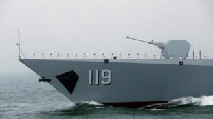 Khu trục hạm Quý Dương của Trung Quốc tại lễ kỷ niệm 70 ngày thành lập Hải Quân Trung Quốc, ngoài khơi Thanh Đảo, ngày 23/04/2019.