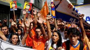 Maandamano katika mitaa ya mji mkuu wa Venezuela, Caracas.