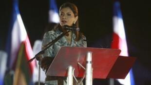 La presidenta electa, Laura Chinchilla, habla tras ganar las elecciones, San José el 7 de febrero de 2010