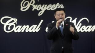 El director de la empresa china 'HKND Group', Wang Jing, explica trazado del canal en la Universidad Nacional de Nicaragua el 7 de julio de 2014.