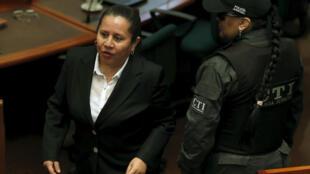 María del Pilar Hurtado, antigua directora del DAS, espera la sentencia en la Corte Suprema de Justicia, Bogotá, 30 de abril de 2015.
