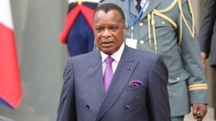 Presidente do Congo, Denis Sassou-Nguesso, em Paris a 29 de Maio de 2018.