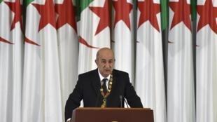 Rais mpya wa Algeria Abdelmadjid Tebboune wakati wa kuapishwa kwake huko Algiers, Desemba 19, 2019.