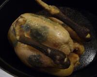 Volaille de Bresse demi-deuil dans sa marmite