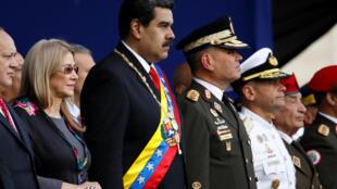 O presidente venezuelano, Nicolas Maduro, assiste a uma cerimônia, após sua posse para um segundo mandato presidencial, na base militar de Fuerte Tiuna, em Caracas, Venezuela, em 10 de janeiro de 2019.