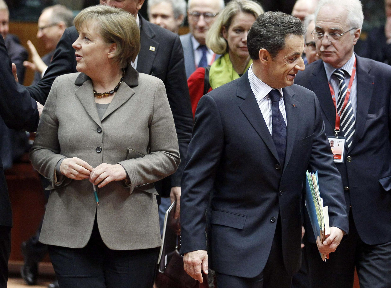 Shugaban Jamus Merkel dana Faransa Sarkozy a wajen taron Turai kan rikicin Libya