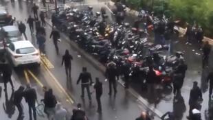 The clashes near the synagogue on Paris's rue de la Roquette on 13 July