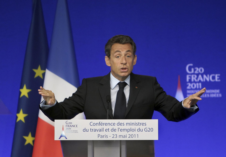 """Николя Саркози на конференции """"большой двадцатки"""" в Париже 23 мая 2011."""