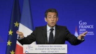 Nicolas Sarkozy, lors de la conférence du G20 à Paris, le 23 mai 2011.