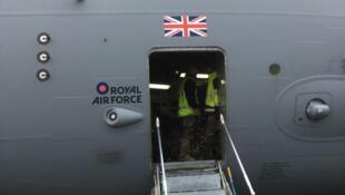 Un avion cargo C17 britannique  de la «Royal Air Force» (RAF) ayant participé au pont aerien pour Irma.