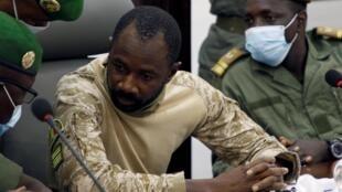 Le colonel Assimi Goita, chef de la junte au pouvoir au Mali, lors de la réunion avec la Cédéea. Le 22 aout 2020 à Bamako