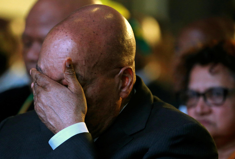 Le président sud-africain Jacob Zuma, à l'annonce des résultats des élections municipales, où le parti au pouvoir ANC a perdu plusieurs grandes villes.