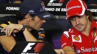 Fernando Alonso en conferencia de prensa hoy en el circuito de Catalunya