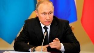 O presidente russo, Vladimir Putin, durante pronunciamento em São Petesburgo, na Rússia, em 26 de dezembro de 2016.