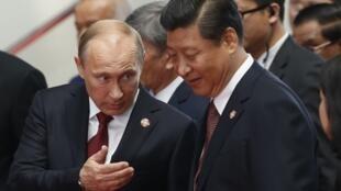 Le président de la Russie Vladimir Poutine (g) et son homologue chinois XI Jinping à Shangai le 21 mai 2014.
