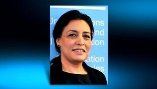 Syrian ambassador Lamia Shakkur's photo on France 24 as the interview is broadcast