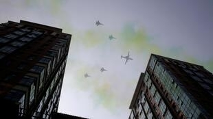 Máy bay của Không quân Trung Quốc tập dượt cho lễ diễu binh Quốc Khánh 01/10. Ảnh chụp tại Bắc Kinh ngày 22/09/2019.