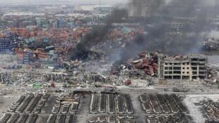 Hiện trường vụ nổ nhà máy Thiên Tân ngày 12/08/2015.