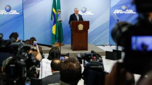Pronunciamento do presidente da República, Michel Temer, nesta quinta-feira (18) em Brasília.