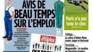 Capa do jornal francês Aujourd'hui en France destaca a oferta de empregos na França em 2018.
