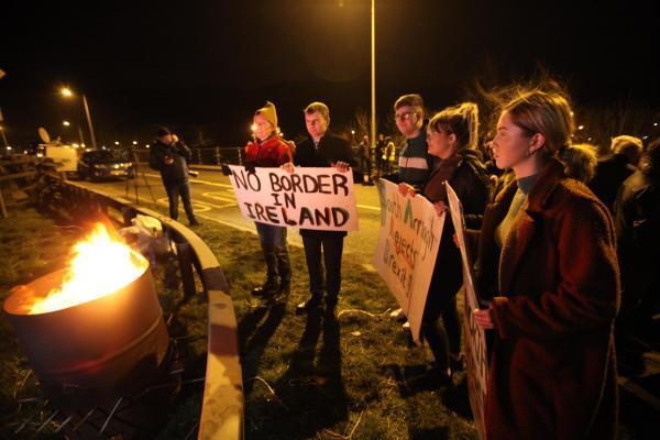 Protest rally on the night before Brexit on the border crossing between Jonesborough in Northern Ireland and Carrickarnon in the Irish Republic. January 31, 2020.