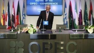 Tổng thư ký OPEP Abdullah al-Badri trong cuộc họp báo tại Vienna, Áo, 27/11/2014