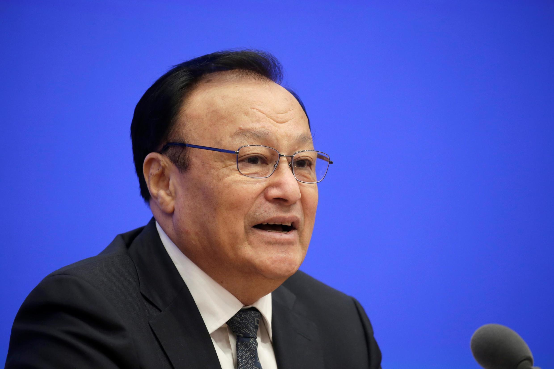 Shohrat Zakir, phó bí thư Đảng đoàn, chủ tịch khu tự trị Tân Cương, Trung Quốc, trong một cuộc họp báo tại Bắc Kinh, Trung Quốc, ngày 09/12/2019