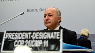 Laurent Fabius, ministre des Affaires étrangères français, lors des négociations sur le climat, le 1er juin à Bonn en Allemagne.