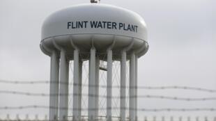 La tour de l'usine d'eau de Flint dans l'État du Michigan, le 7 février 2016.