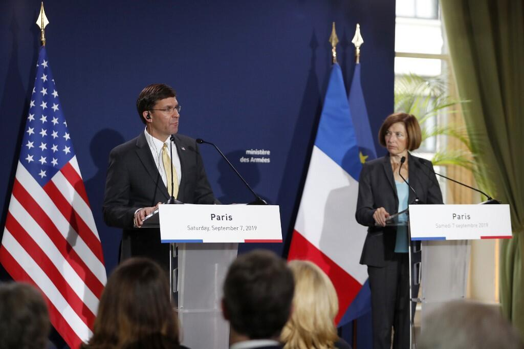 French defence minister Florence Parly and US Secretary of Defense Mark Esper hold a press conference following their meeting at the French Defence ministry in Paris on September 7, 2019.