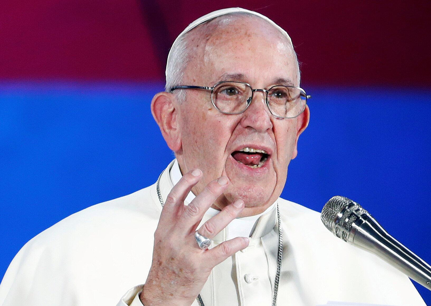 Giáo hoàng Phanxicô phát biểu với thanh niên tại Roma, Ý, ngày 11/08/2018.