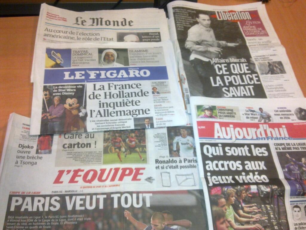 Diários franceses   01/11/2012