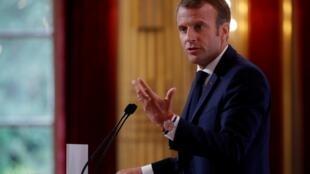 Le président français lors de son discours annuel devant les ambassadeurs français dans le Monde.