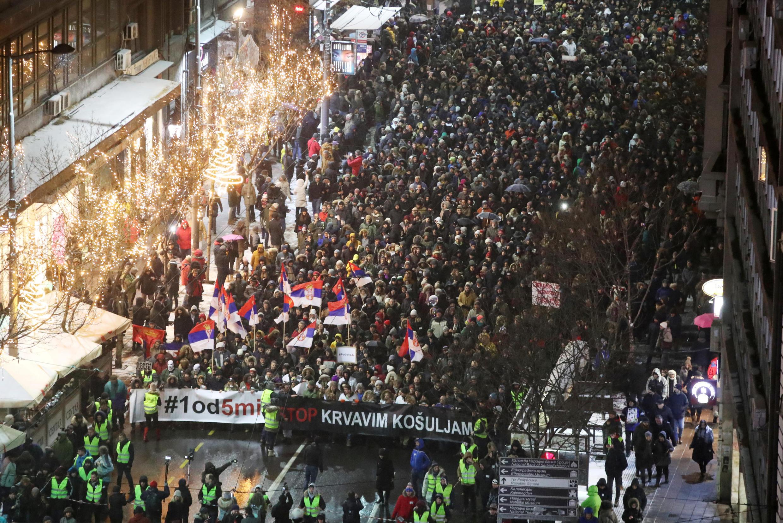Manifestation dans les rues de Belgrade, le 5 janvier 2019.