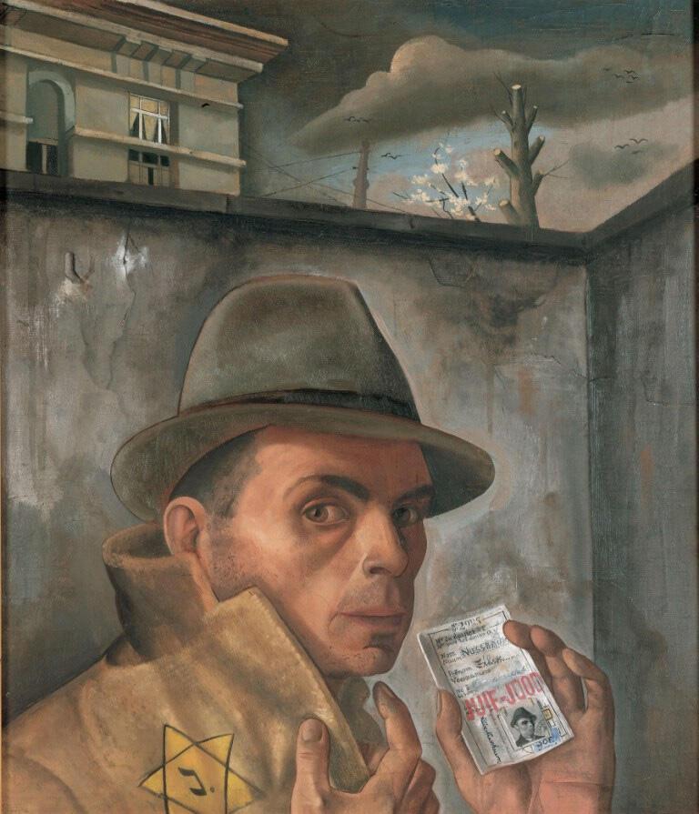 Self-portrait with Jewish passport, 1943