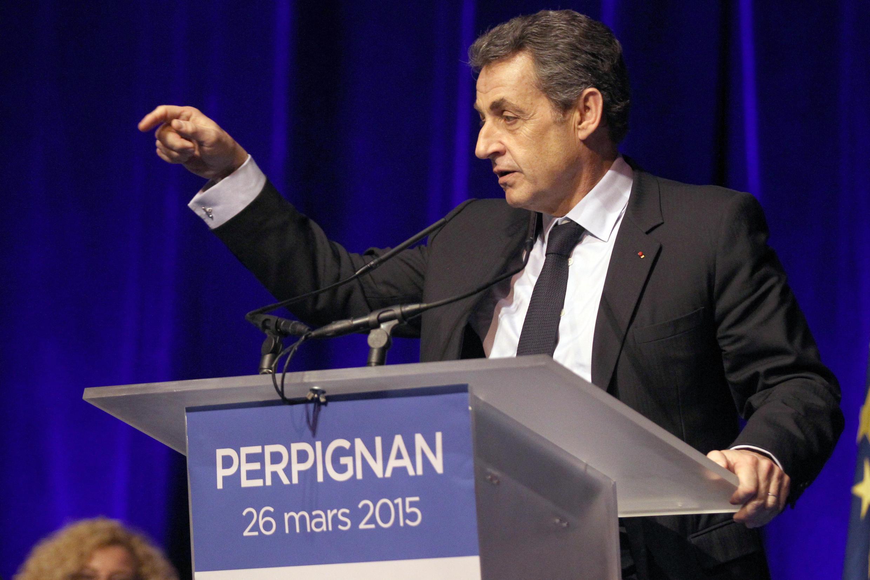 O presidente da UMP, Nicolas Sarkozy, em um comício de campanha, em Perpignan, no dia 26 de março.