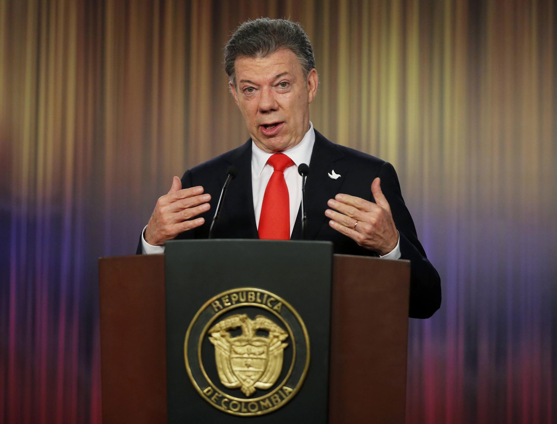 Juan Manuel Santos durante una conferencia de prensa, en Bogotá, este 16 de junio del 2014.