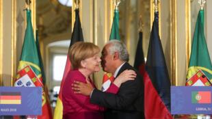 Angela Merkel e António Costa em Lisboa a 31 de Maio de 2018.