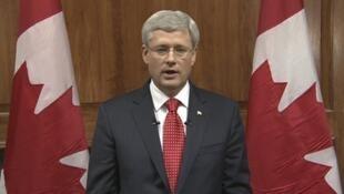 Le Premier ministre canadien Stephen Harper lors de son message télévisé, mercredi 22 octobre.