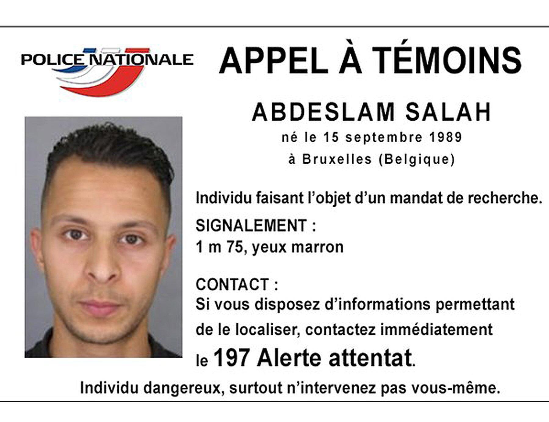 Mandado de busca internacional de Abdeslam Salah, belga de 26 anos.