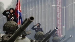 Quân đội Bắc Triều Tiên trong lễ duyệt binh ngày 10/10/2010.