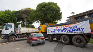 Roaodblocks erected by protesters in French Guyana