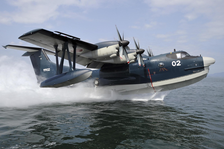 Thủy phi cơ US-2 do hãng ShinMaywa Industries Ltd của Nhật Bản chế tạo. Ảnh do Hải quân Nhật Bản cung cấp ngày 04/11/2013.