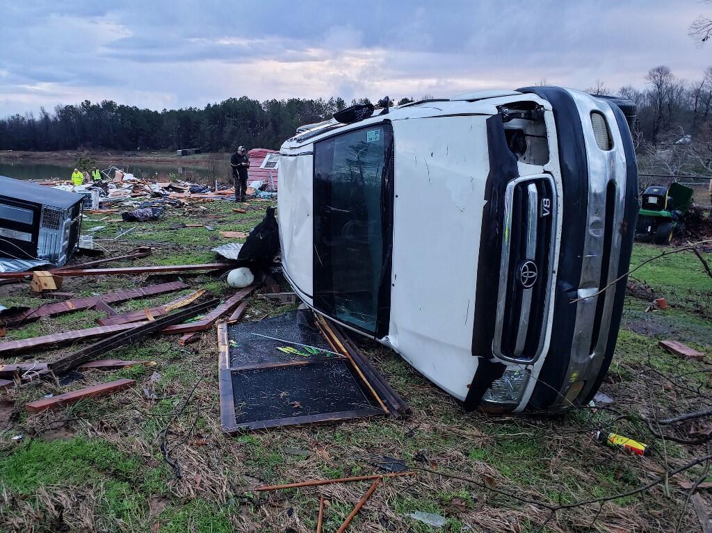 À Bossier, en Louisiane, après le passage d'une puissante tempête, le 11 janvier 2020.