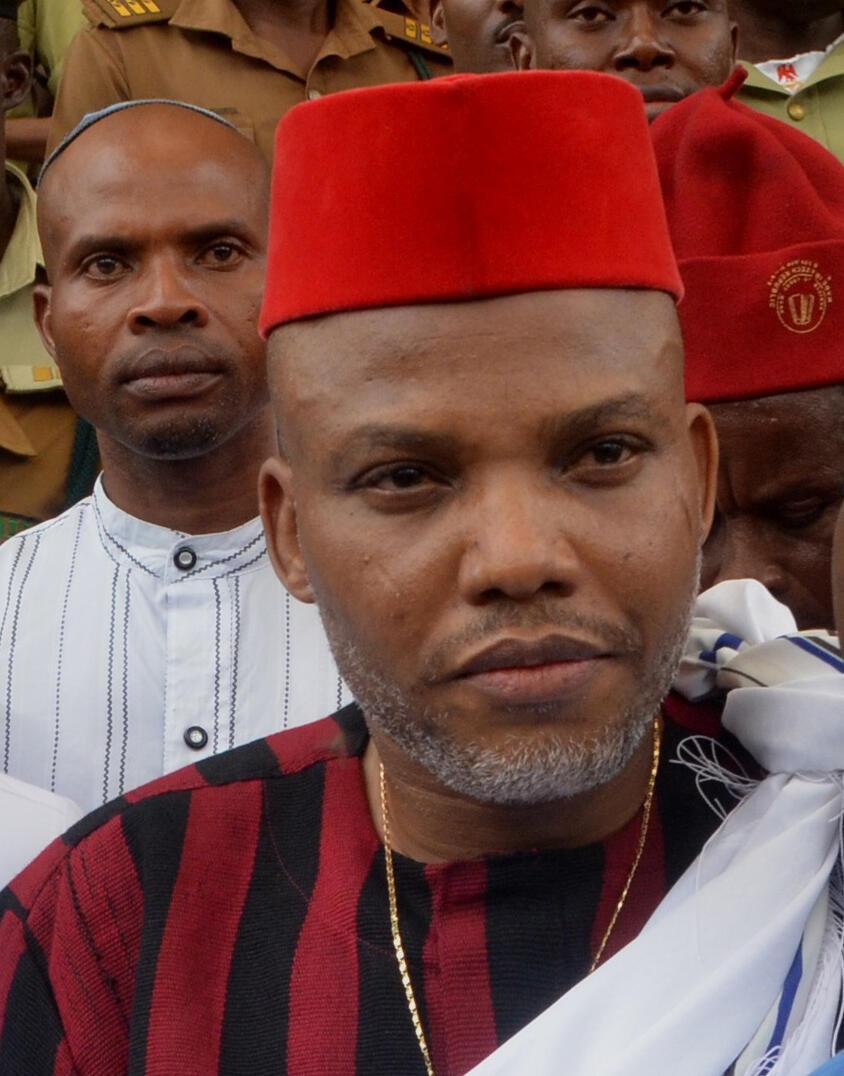 Jagoran kungiyar masu fafutukar kafa kasar Biafra ta IPOB wadda jami'an tsaron Najeriya suka ayyana a matsayin kungiyar ta'addanci.