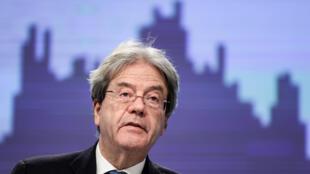 El comisario de Economía europeo, Paolo Gentiloni, durante una rueda de prensa sobre las previsiones económicas de invierno, el 11 de febrero de 2021 en Bruselas