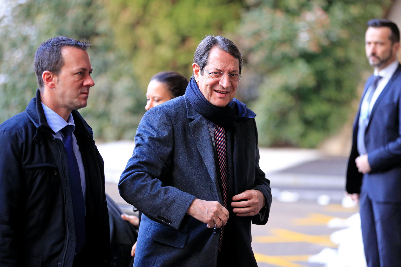 Nicos Anastasiades, président de la République de Chypre arrive à Genève, pour les négociations de réunification de Chypre aux Nations unies, le 11 janvier 2017.